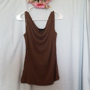 Express Dressy Tank Top Brown/Olive Size L